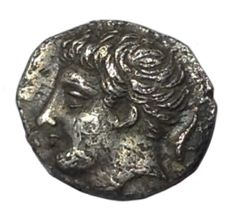 The Greek Antiquity - Sicily, Panormos-Ziz, Punic occupation ca. 405-380 BC - AR Litra (Silver, 10mm, 0,70g.) - Head / Man-headed bull - SNG ANS 548 - Scarce