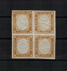 Sardinia, 1858, 10 cents, bistre brown, block of 4, variation with portrait stamped straddling the vertical pair (10 pairs) Sassone no. 14E