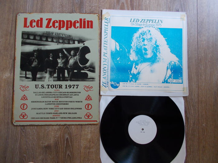 Led Zeppelin Concert Shield U.S Tour 1977 , And Lp On Stage In Europe 1975 , Unofficial Releaes