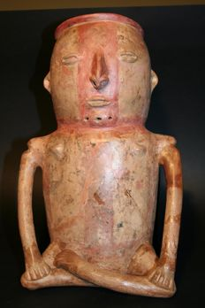Pre-Columbian archaeological finds in  ceramic  Cauca Madio region - Colombia - Anthropomorphic male figure for ceremonial use with facial and body painter -  310 mm