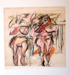 Three artworks by Willem de Kooning - Donna in piedi (1951) & Untitled (1956/58) & Due donne (1952)