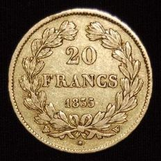 France - 20 francs 1835-W Lille - Louis Philippe - Gold