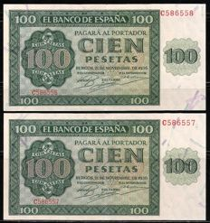 Spain - 2x 100 pesetas 1936 - Correlative - Pick 101a