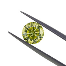 2.04 Ct. Natural Fancy Grayish Greenish Yellow Cushion shape Diamond, GIA