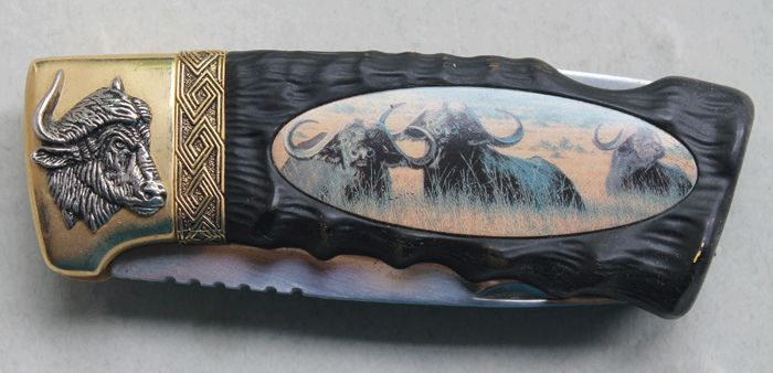 """Franklin Mint 2001 - Collection pocket knife """"Water Buffalo"""" - 22 k gold-plated"""