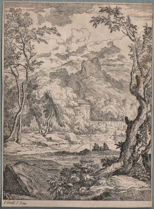 Abraham Genoels ( 1640 - 1723)  - Landscape with a mall boat and several fishermen-  Ca. 1680