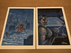 "Alan Clarke (artist) / Stephen King - Two signed limited edition artwork pieces from ""Riding the Bullet"" - 2010"