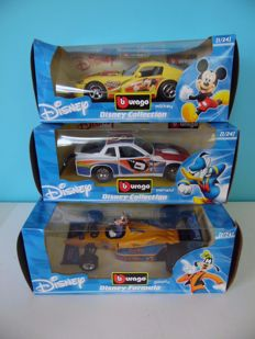 Disney, Walt - 3 Model cars Burago - - Mickey, Goofy and Donald