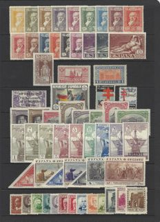 Spain 1916/1938 – Set of complete series – Edifil No: Fr11/18, 499/16, 531/46, 662/75, 755, 763, 833/35, 840 and 866.