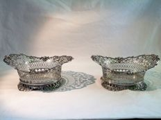 Set of silver chocolate baskets after antique example, Alle de Haas, Sneek, 1917/1918