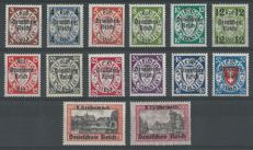 German Reich 1939 - Danzig stamps with overprint - Michel 716/729 including variety 728 I