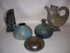 A set of artistic ceramics, made in Germany, Scheurich, Ruscha Art, 1960/1970,