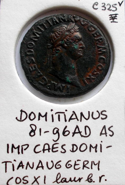 Romeinse Rijk - Domitianus, 81-96 n.Chr. - bronzen As van 27 mm. = 11,1 gram (getooled)