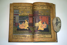 A Mughal book, love scene with eleven miniature drawings – India – dated 1830