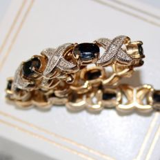 Sterling silver + gold bracelet about 1950/1960 with large oval cut natural Sapphires approx. 8Ct. and small old cut diamonds.