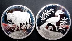 "Malaysia – 15 and 25 Ringgit 1976 ""Conservation series"" (2 different ones) – silver"