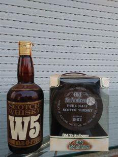 2 Bottles - W5 blended Scotch & Old St Andrew's Pure Malt 1982