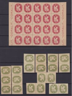 Italy, 1945 – 'Coralit' – 14 Lira and 28 Lira, (20 stamps each denomination): Sassone #3-4.