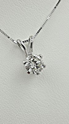 0.70 ct round diamond pendant in 14 kt white gold *** No reserve price **