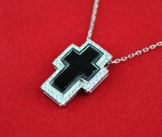 Diamond (Total 0.45ct GH/SI) & Black Graphite 18k White Gold Cross Pendant - Size 21mm x 14mm and Chain 40cm