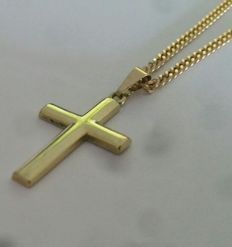 14 kt gold necklace with gold cross pendant - 51 cm ***No reserve***