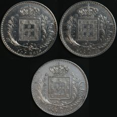 Portugal – 3 x 500 Réis coins in SILVER – 1886, 1888 and 1889 – D. Luís I – Lisbon – Excellent Condition