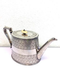 A Victorian silver-plated teapot with stylised motifs and with ivory knob, by Lee & Wigfull with ivory knob-England-ca. 1900
