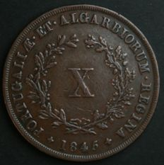Portugal – X Reis – D. Maria II – 1845 - No Reserve – Lisbon - Rare and Valuable in UNC Condition