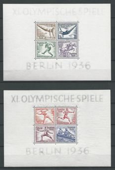 German Reich 1936/1937 – Olympic Games and Stamp Exhibition – Michel block 5, 6, 8