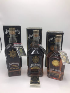3 bottles - Jack Daniels gold medals all signed 1981-1915-1954