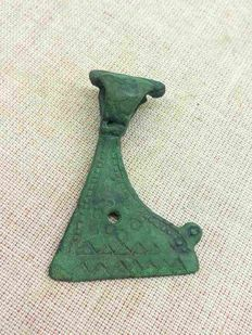 Early medieval Viking axe-shape bronze amulet decorated with a pattern - 55/34 mm