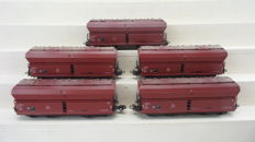 Märklin H0 - 4626 - Five large volume freight carriages with hinged lid of the DB