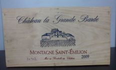 6 x 2009 Château La Grande Barde, Montagne Saint-Emilion in wooden gift packaging (3 x 2 bottles) - 6 bottles in total