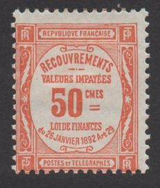 France 1908-25 – tax stamp – 50 c. orange – signded and with Calves certificate – Yvert n°47