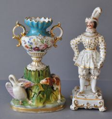 Jacob Petit porcelain perfume bottle and figure.