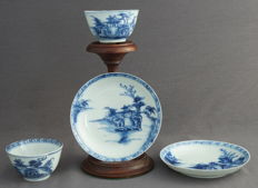 """The Nanking Cargo"", Christie's, two cups and two saucers with a very refined landscape décor – China – 1752"