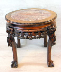Antique hand-carved wooden side table with a marble top – China – 1st half 20th century