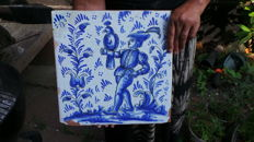 Falconry Falconer tile 18th-19th Delft exceptionally large tile large size 33 x 33 cm, masterpiece Delft