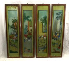 Four panels behind glass painting - China - approx. 1920