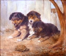 R.S. Moseley (British, fl. 1862-1893) - Three little puppies