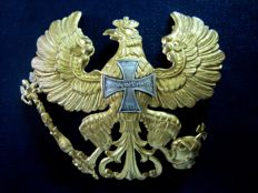 Front part of a helmet from Prussia in golden bronze