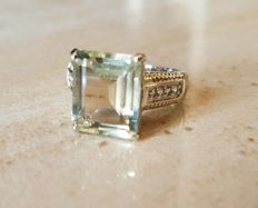 Oppulent prasiolite ring in antique cut