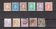 Spain 1875/1876 - Reign of Alfonso XII - Edifil 162/3, 167, 169, 174/5, 177, 179 and 181/2.