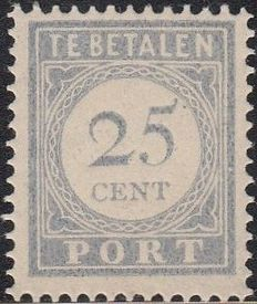 The Netherlands 1916 – Postage, number and value blue – NVPH P59, with inspection certificate