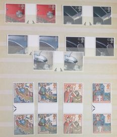 Great Britain – Collection of 62 series of gutter pairs on stock pages.
