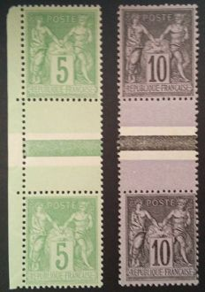 France 1898 – Sage, types I and II held, 2 pairs – Yvert #103b and 106a