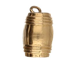 14 kt Yellow gold pendant in the shape of a barrel
