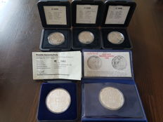 The Netherlands - medals of 20 and 25 Euro / ecu  (5 pieces) - silver.