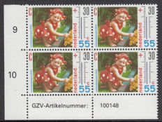 The Netherlands 1990 - Summer stamps with plate flaw - NVPH 1444 P1 in corner block, with expert certificate