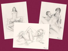 Original works; Lot of 3 erotic sketches by Daniel Cayuela – 2017